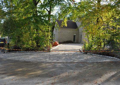 Aménagement d'une allée en pavés granit ancien mélange posés en forme de rosace - Cergy Pontoise Val d'Oise 95
