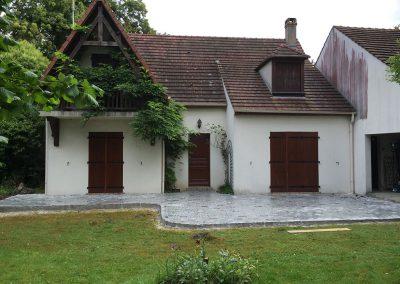 Rénovation d'une terrasse en pavés granit sciés-14x20x7cm