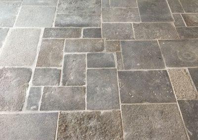 Terrasse en dalles granits anciennes mélange